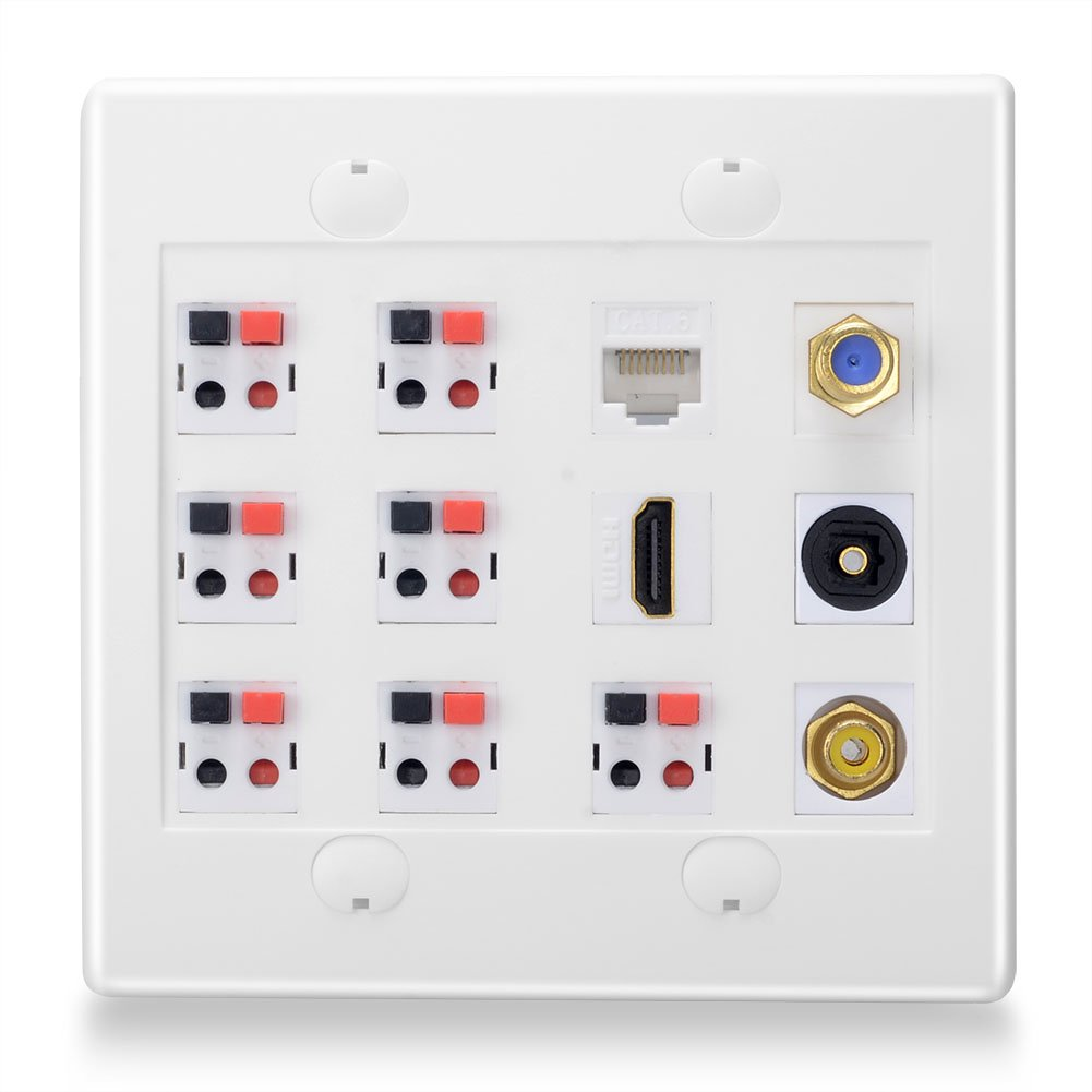 BATIGE 2-GANG 7.1 Surround Sound Home Theater DIY Wall Plate Outlet Panel With Audio Optical Fiber Subwoofer CAT6 RG6 HDMI Keystone