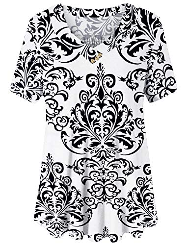 U.Vomade Women's Casual Summer Shirts V Neck Tunic Short Sleeve Top Plus Size 04 ()