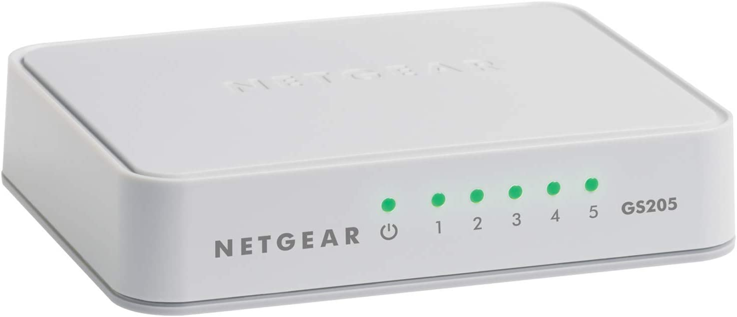NETGEAR 5-Port Gigabit Ethernet Unmanaged Switch, Desktop, 10/100/1000Mbps (GS205)