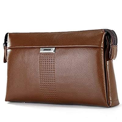 SIMU Men's Genuine Leather Big Wrist Clutch Bags Business Handbag High-capacity Soft