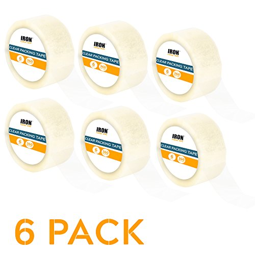 6 Clear Packing Tape Rolls - 1.88 inch x 60 Yards Heavy Duty Packaging Tape Refill Rolls by Iron Forge Tools