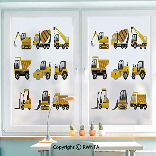 Decorative Window Films Kitchen Glass Sticker Big Vehicles Icon Collection Engineering Building Theme Clip Art Style Decorative Waterproof Anti-UV for Home and Office 22.8