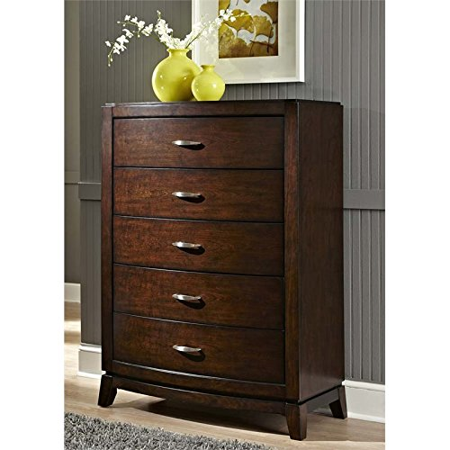 "Price comparison product image Liberty Furniture 505-BR40 Avalon 5-Drawer Chest,  36"" x 18"" x 50"",  Dark Truffle"