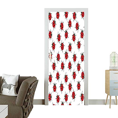Door Sticker Wall Decals Pattern Bunch Bugs ITE Speckled Sect Theme Play Kids Red White Easy to Peel and StickW36 x H79 INCH ()