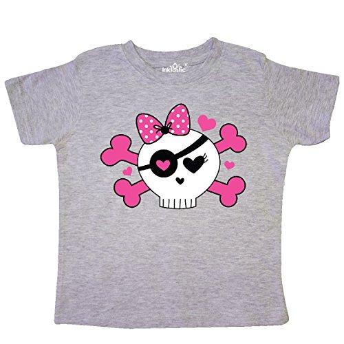 inktastic Girl Pirate Skull Valentine Toddler T-Shirt 2T Heather Grey