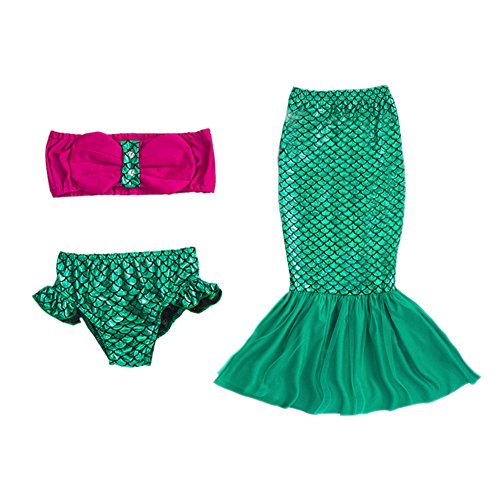FOUNDO Girls 3 Pcs Mermaid Dress Swimmable Princess Bikini Set Swimsuit