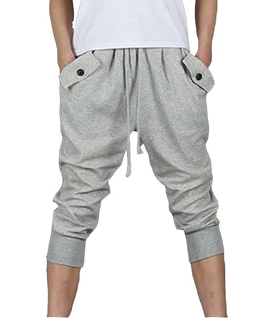 Hombres Pantalones Hippie Harén Pantalones De Deportivos Casual Pantalones Capri wtqJKa7Mz