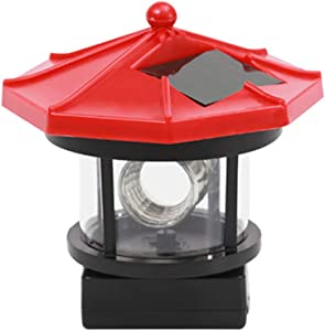 Uonlytech Solar LED Lighthouse Waterproof Landscape Lamp Garden Lamp for Outdoor Lawn Patio Pond Ornament Decoration Red