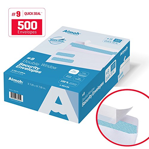 500 #9 Double Window SELF SEAL Security Envelopes - for Invoices, Statements & Documents, Security Tinted - Size 3-7/8 x 8-7/8 - 24 LB - 500 Count (Universal Products Window Envelopes)