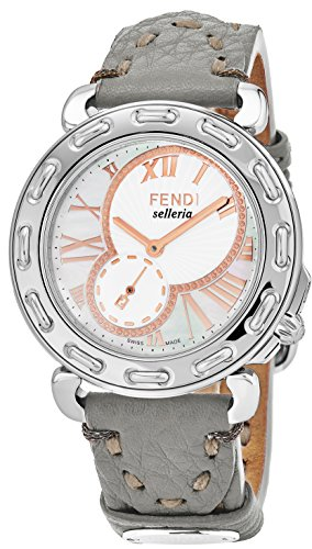 Fendi Selleria Womens Stainless Steel Swiss Fashion Watch with Selleria Horse Logo - Mother of Pearl Face Grey Leather Strap Dress Watch For Women with Interchangeable Band F81334H.SS18RD6S