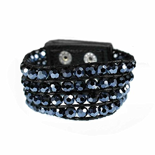 Four Row Faceted Black Crystal Bead with Double Snap Closure Bracelet - 7 inch (Crystal Double Row Bracelet)