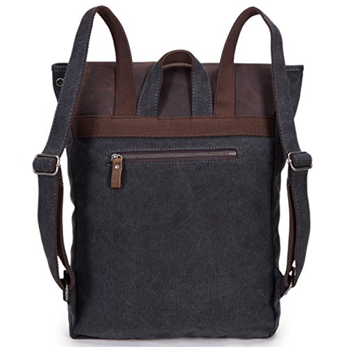 5 ALL Unisex Damen Herren Vintage Retro Canvas Leder Rucksack Schultasche Reisetasche Daypack Uni Backpack 14 Zoll Laptoprucksack für Outdoor Sports Freizeit 33 x 10 x 43cm (Rosa-A) Schwarz-A