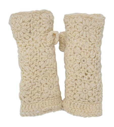 Thermal Beige Cables - Thermal Insulated Lined Cable Knit Arm Warmer Fingerless Gloves Thumb Hole Gloves Mittens (Cream)