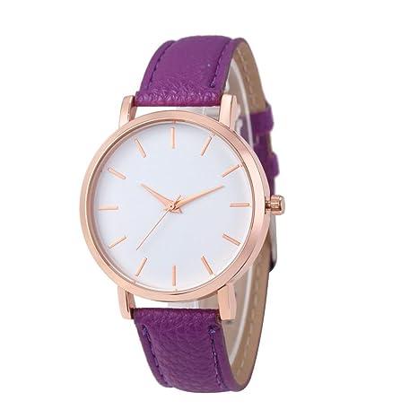 Xinantime Relojes Pulsera Mujer,Xinan Cuero PU Acero Inoxidable Analógico Cuarzo Reloj (Púrpura)