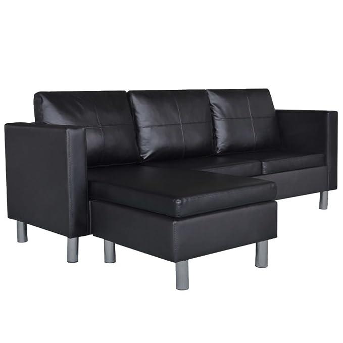 vidaXL Sofá Modular de 3 Plazas en Forma Cuero Artificial Negro Sillon Salón