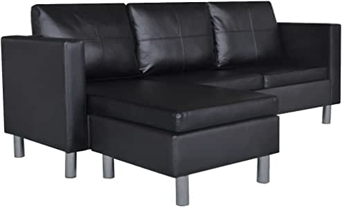 Tidyard Sectional Sofa 3-Seater Modern Upholstery Sectional Sofa Bed Faxu Leather Sleeper L-Shaped Wooden Couch with Armrests for Living Room Artificial Leather Black