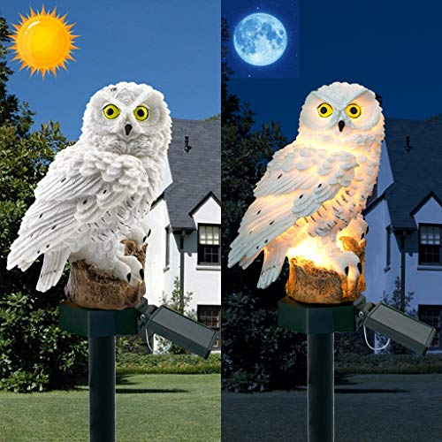 (Fullwei LED Garden Lights - Solar Night Lights Owl Shape Solar-Powered Lawn Lamp - Waterproof, Energy Saving (White))