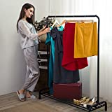 LANGRIA Clothing Garment Rack Heavy Duty Commercial Grade Clothes Stand Rack with Top Rod and Lower Storage Shelf for Boxes Shoes Boots 45.7 x 15.7 x 57.1 inches, Black