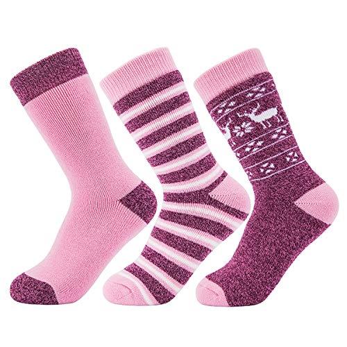 (AIRSTROLL Women's Thick Thermal Socks,3 Pack Winter Warm Knit Fuzzy Crew Socks (pink&purple))