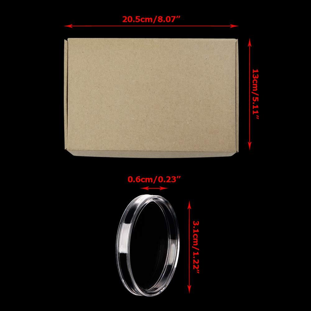 28mm Collection de pi/èces de Monnaie Titulaire bo/îte de Stockage conteneur Organisateur Rond Haute qualit/é Cas en Plastique 28mm 100pcs 40mm