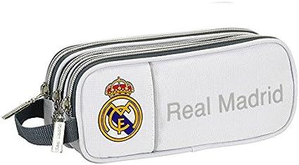 Real Madrid-Estuche escolar triple Deluxe Insignia Real Madrid, color blanco: Amazon.es: Oficina y papelería