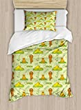 Ambesonne Cat Duvet Cover Set Twin Size, Cute Cartoon Cats Practicing Yoga on Green Backdrop Meditation Healthy Living, Decorative 2 Piece Bedding Set with 1 Pillow Sham, Green Orange Yellow