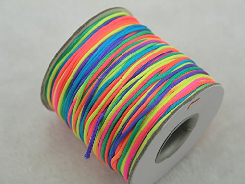 - KONMAY 80 Yards 1.0MM Rattail/Bugtail Satin Silk Cord Shamballa Macrame Beading Nylon Kumihimo String (Rainbow RB)