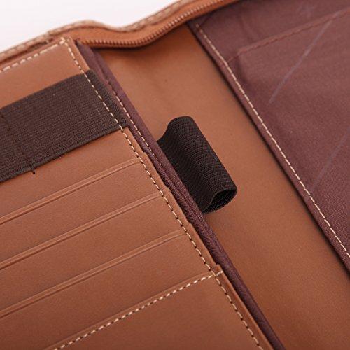 Leathario (Marrón-A5) Marcas de Portafolio de Carpeta Plegable de Mano de PU para Hombres, Diseñado para Negocio y para Tomar notas Marrón-A4-1