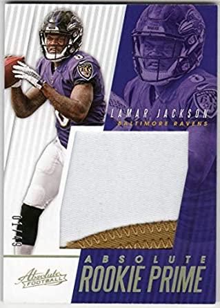 c52f4aef8 Lamar Jackson 2018 Panini Absolute Rookie Prime RC 2 Color Jersey Patch  Card Serial  01