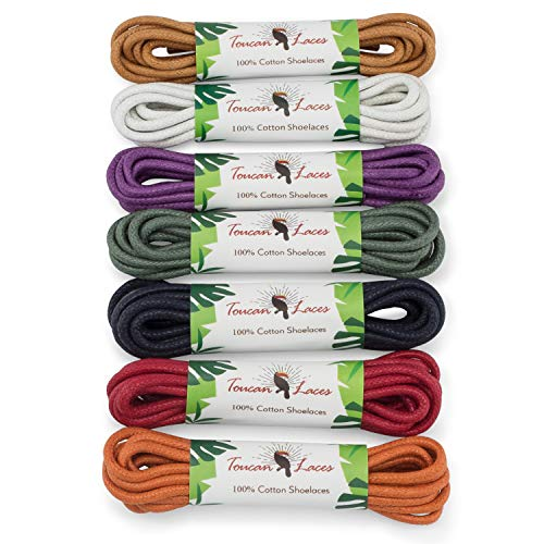 6f2b145567a ... Laces for Men in  7 Pairs  of Round Waxed Shoelaces - 100% Cotton -  Green Shoe Laces