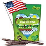 Natural & Delicious Dog Jerky treats. Grain free Made in USA using a Family Recipe. Hand made beef sticks not cooked but naturally dried preserving their nutrients and producing Raw treats dogs