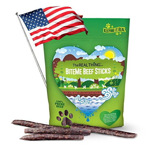 The Real Thing Natural & Delicious Gourmet Beef Jerky Dog Treats. Made in USA using a Family Recipe. Great for Large and Small Dogs. USA Beef Sticks that are Cured, not Cooked or Dried.