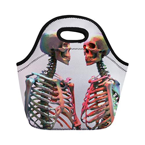 Semtomn Lunch Bags Human Couple of Polygonal Skeleton in Rainbow Color Wireframe Neoprene Lunch Bag Lunchbox Tote Bag Portable Picnic Bag Cooler Bag ()