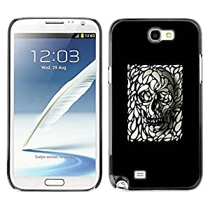 Be Good Phone Accessory // Dura Cáscara cubierta Protectora Caso Carcasa Funda de Protección para Samsung Note 2 N7100 // Skull Art Black White Deep Dark Goth Metal