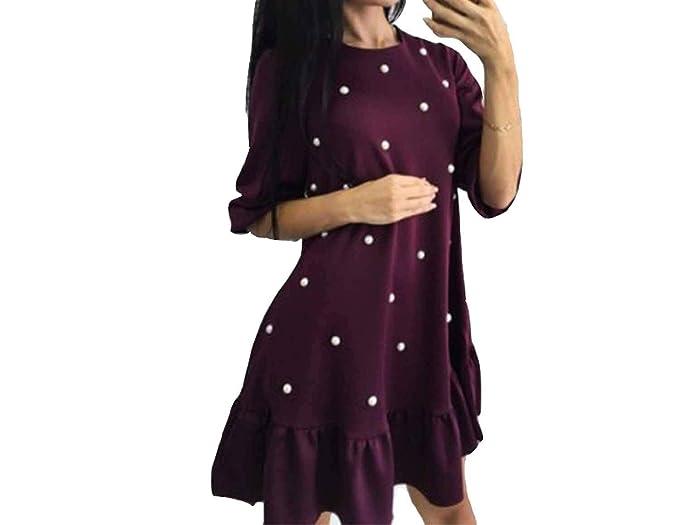 3381bb64ca86 Women Beading Ruffle Loose Dress Autumn Woman Half Sleeve O-Neck Mini  Dresses Ladies Causal