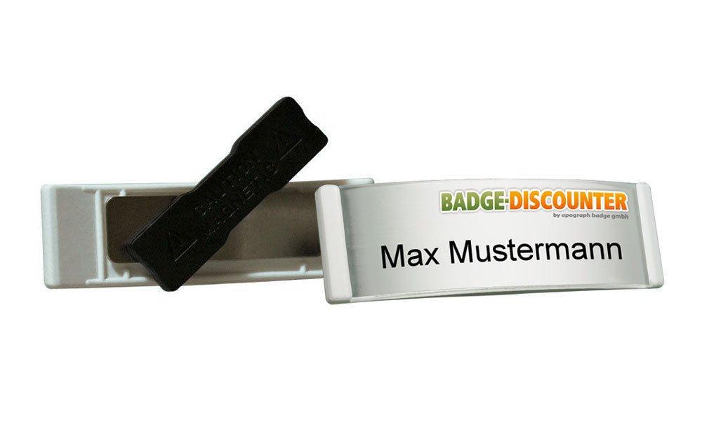 Name Badge PSK bianco, completo di 10 targhette per nome, professionale, con calamita di fissaggio (forte doppio magnete), il nome, con inserti in cartone perforati e trasparenti per inserti, con ragnatela, per la stampa, con schema, a chiusura magnetica A