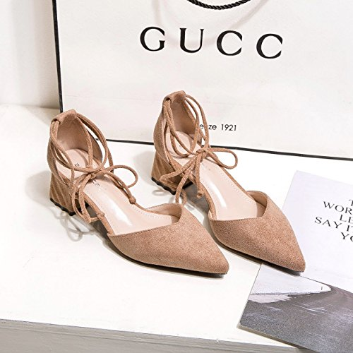 zapatos de primavera la 37 solo hueco zapatos Boca irregular de caqui con punta salvaje raso la luz superficial qSIFqwH