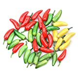 Kansoo 80pcs 2' Simulation Artificial Lifelike Fake Vegetable Red Yellow Green Pepper Hot Chili Home Kitchen Decoration