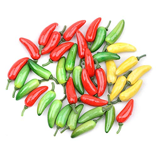 Kansoo 80pcs 2 Simulation Artificial Lifelike Fake Vegetable Red Yellow Green Pepper Hot Chili Home Kitchen Decoration
