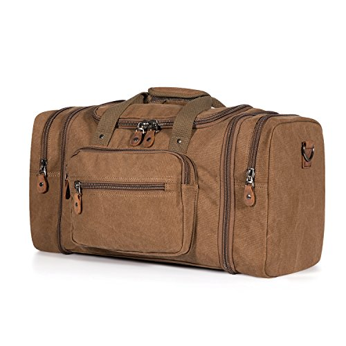 Plambag Oversized Canvas Duffle Bag 50L Tote Travel Weekend Luggage Gym Bag Coffee