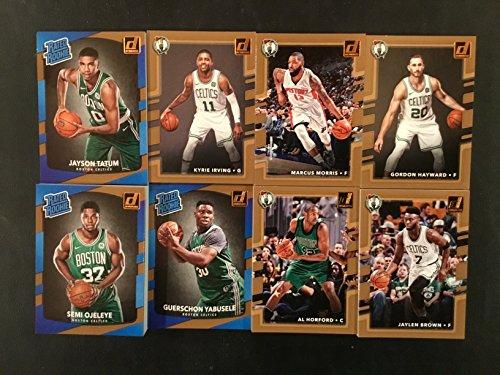 2017-18 Donruss Boston Celtics Complete Set 8 Cards - Including Jayson Tatum RC, Semi Ojeleye RC, Guerschon Yabusele RC, Kyrie Irving, Gordon Hayward, Marcus Morris, Al Horford, and Jaylen Brown in a Plastic Case.