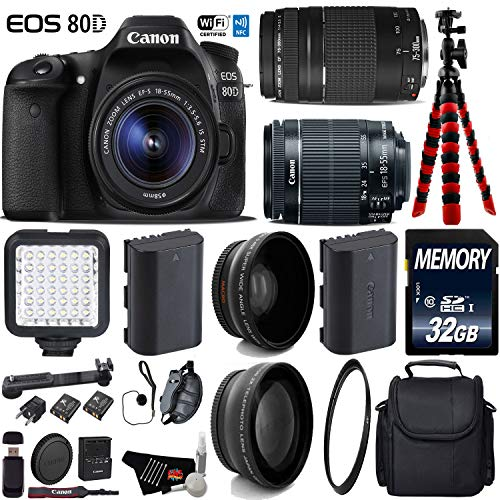 Canon EOS 80D DSLR Camera with 18-55mm is STM Lens & 75-300mm III Lens + LED + UV FLD CPL Filter Kit + Wide Angle & Telephoto Lens + Camera Case + Tripod + Card Reader - International Version -  6Ave