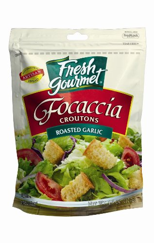 Fresh Gourmet Specialty Croutons, Focaccia Roasted Garlic, 4.5 Ounce (Pack of 9)