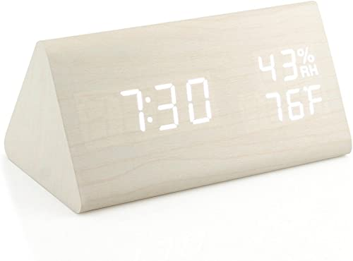 Oct17 Wooden Alarm Clock, Wood LED Digital Desk Clock, Upgraded with Time Temperature, Adjustable Brightness and Voice Control, Humidity Displaying – White