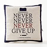 A.B Crew Creative British Style 2 in 1 Cotton Linen Pillow Quilt Blanket Lumbar Supports Throw Pillow Back Cushion(Never Give Up)