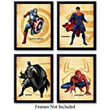Superheroes Unframed Wall Art Prints - Set of Four - Great Home Decor for Boys Room, Man Cave, Home Theater - Perfect Easy Gift for DC Comics Fans - Ready to Frame (8x10) Photos