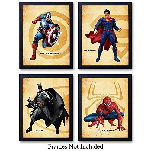 Superheroes Unframed Wall Art Prints - Set of Four - Great Home Decor for Boys Room, Man Cave, Home Theater - Perfect Easy Gift for DC Comics Fans - Ready to Frame (8x10) Photos -