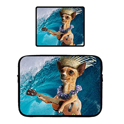 Beach Surfer Chihuahua Dog Surfing and Playing Guitar Gaming Mouse Pad & Laptop Sleeve Bag Case Protector Computer Bag Case Mousepad for Women Men Girls Boys