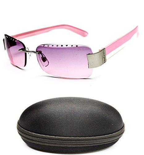 D493-cc Diamond Eyewear Fashion Metal Rimless Sunglasses (503 - Sunglasses Pink Rimless