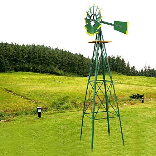 Nova Microdermabrasion 8' Ornametal Steel Windmill Yard Garden Wind Mill Weather Vane Weather Resistant Green